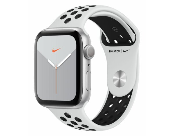 SmartWatch APPLE Watch Nike+ Series 5 GPS Koperta 44 mm z aluminium w kolorze srebrnym z paskiem sportowym Nike w kolorze czystej platyny/czarnym MX3V2WB/A