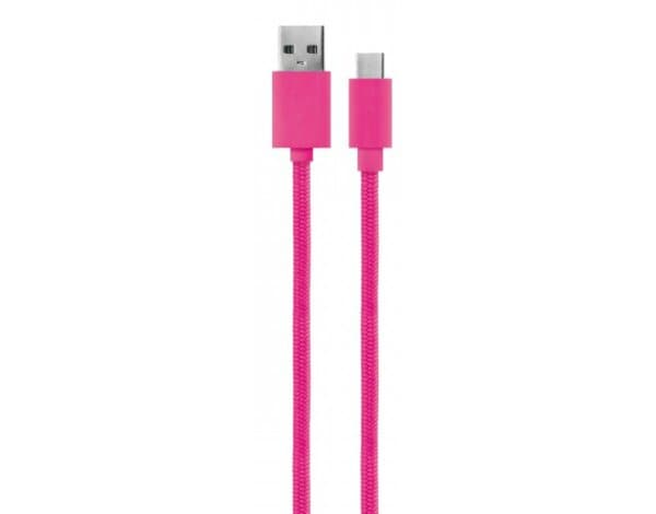 kabel USB XQISIT 30122 Cotton Cable Type C 3.0 to USB A 180cm Różowy