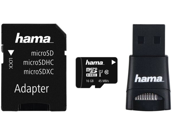 Karta pamięci HAMA microSDHC 16GB Class 10 UHS-I 45MB/s + adapter SD + adapter USB 2.0 + etui