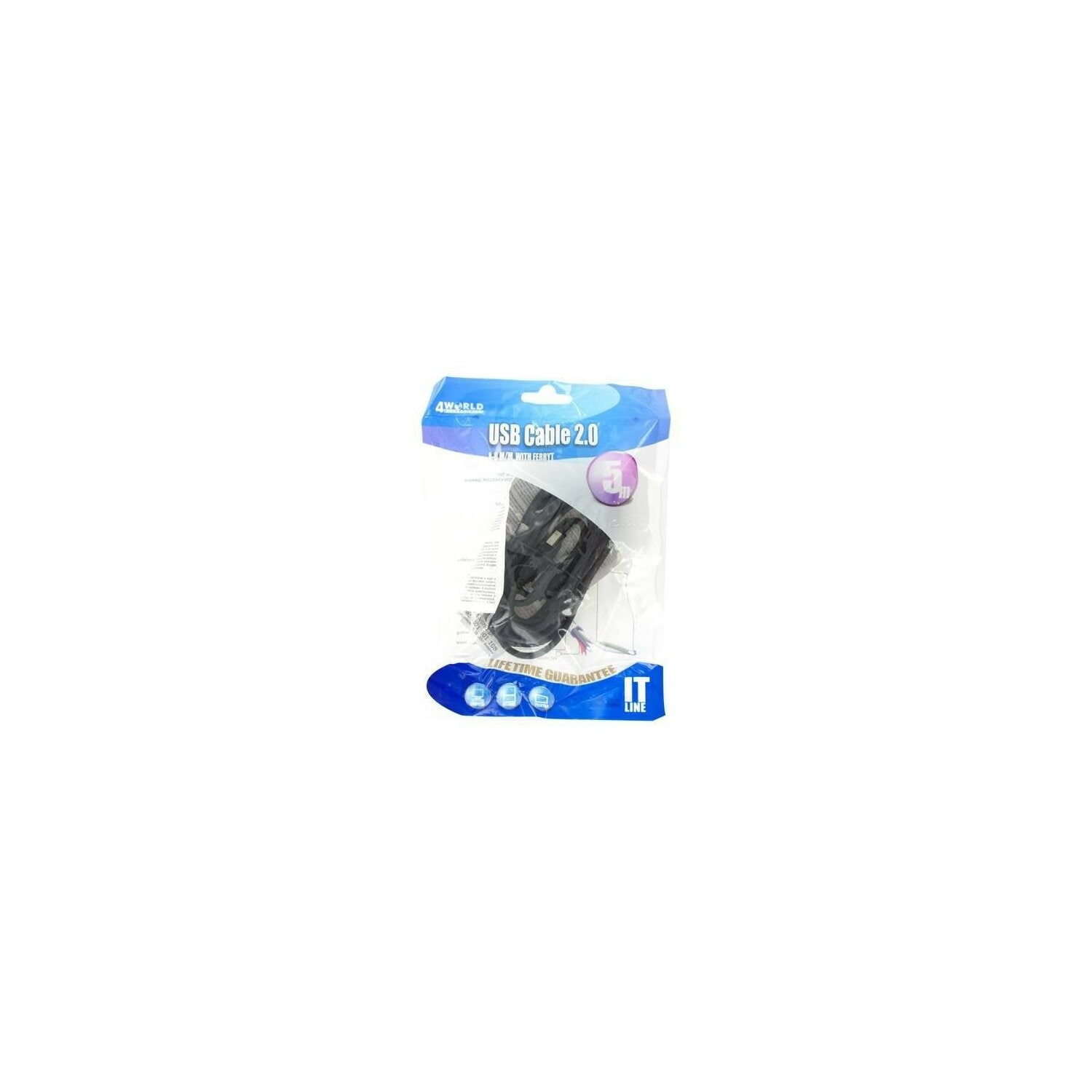 Kabel 4WORLD USB 2.0 A-B 5m
